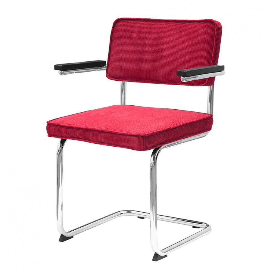 Chaise de salle manger accoudoirs rainbow tissu for Chaise salle a manger rouge