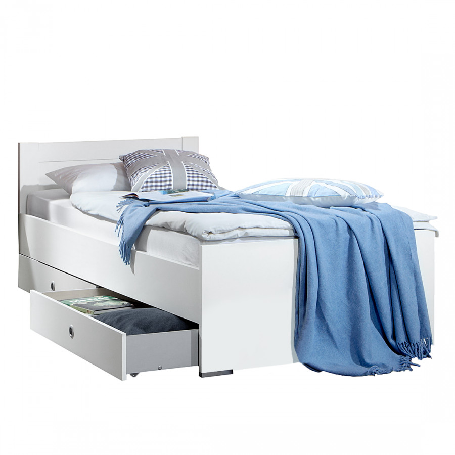 lit simple mika blanc alpin. Black Bedroom Furniture Sets. Home Design Ideas