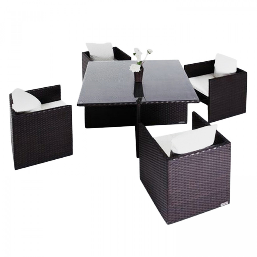 essgruppe f r 4 personen 5 teilig st hle unterschiebbar polyrattan braun home24. Black Bedroom Furniture Sets. Home Design Ideas