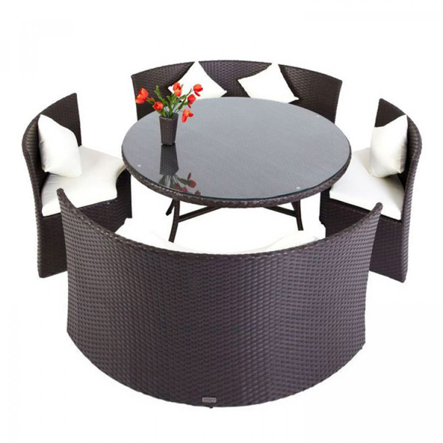 essgruppe f r 6 personen 5 teilig kreisf rmig polyrattan braun home24. Black Bedroom Furniture Sets. Home Design Ideas