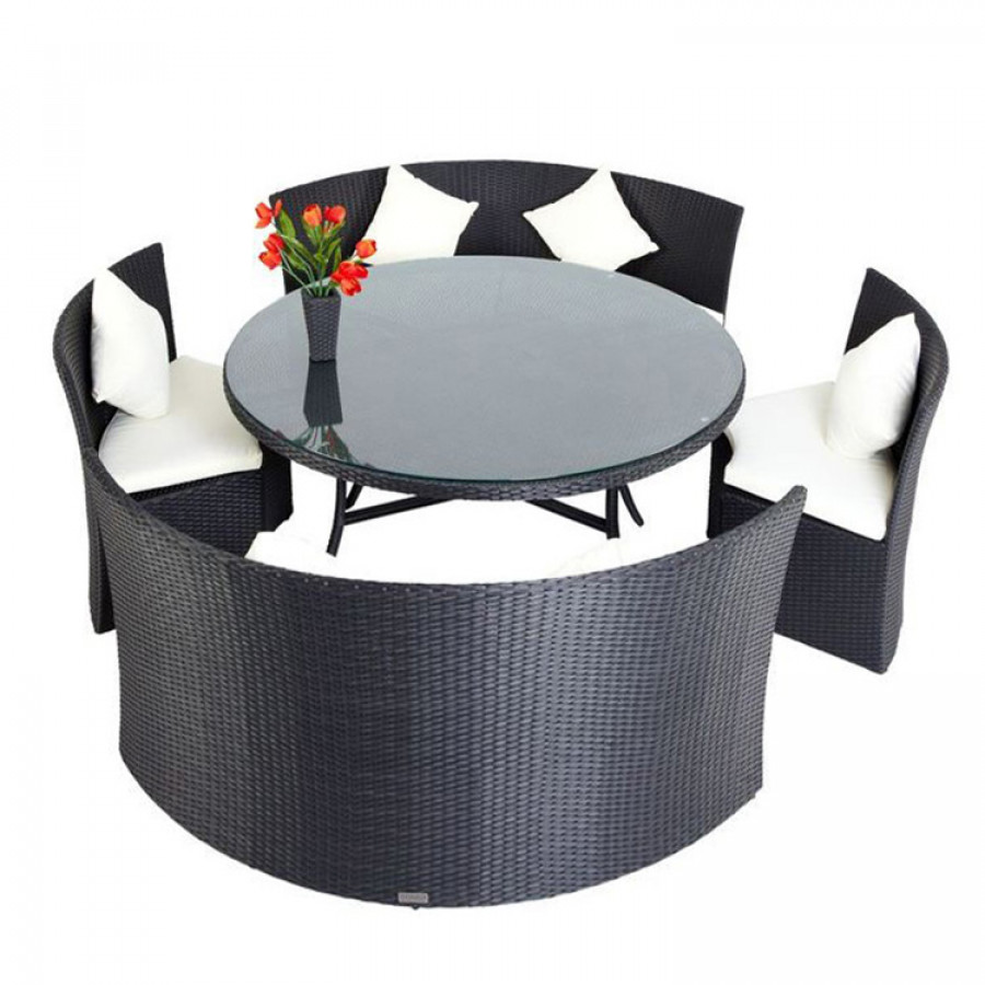 essgruppe f r 6 personen 5 teilig kreisf rmig polyrattan schwarz home24. Black Bedroom Furniture Sets. Home Design Ideas