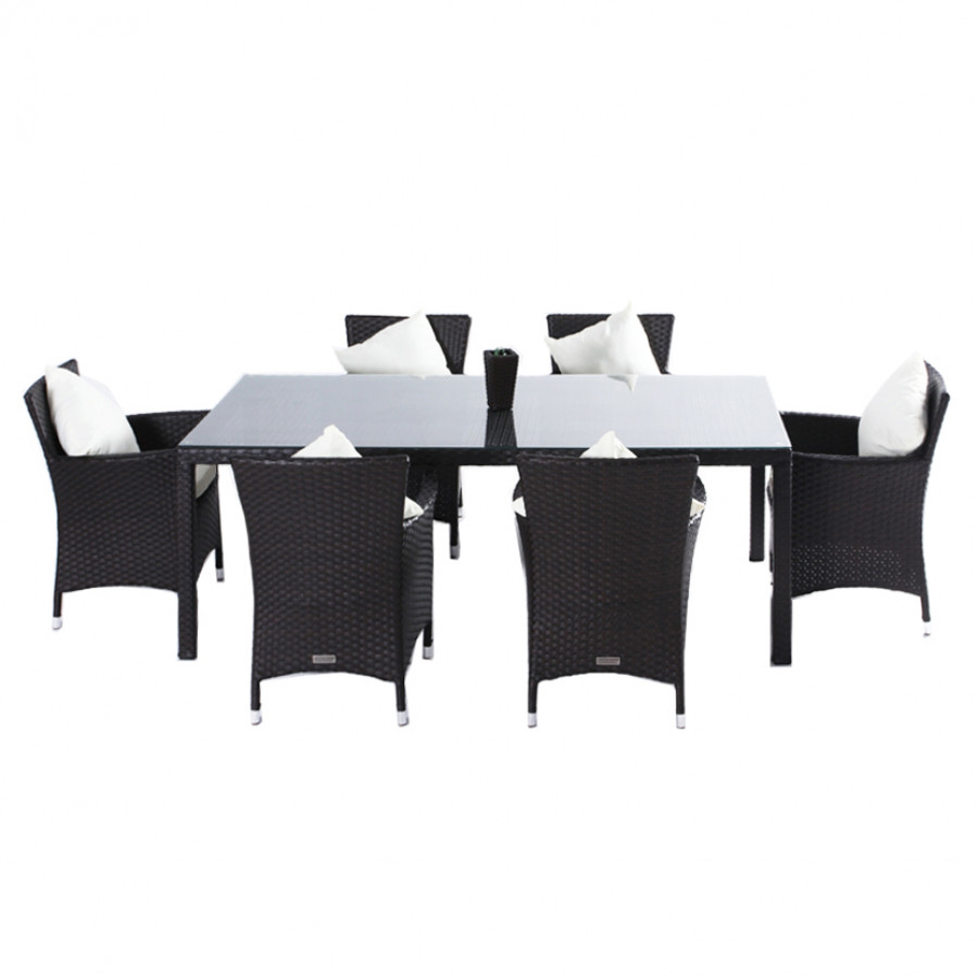 essgruppe f r 6 personen 7 teilig aufliegende glasplatte polyrattan braun home24. Black Bedroom Furniture Sets. Home Design Ideas