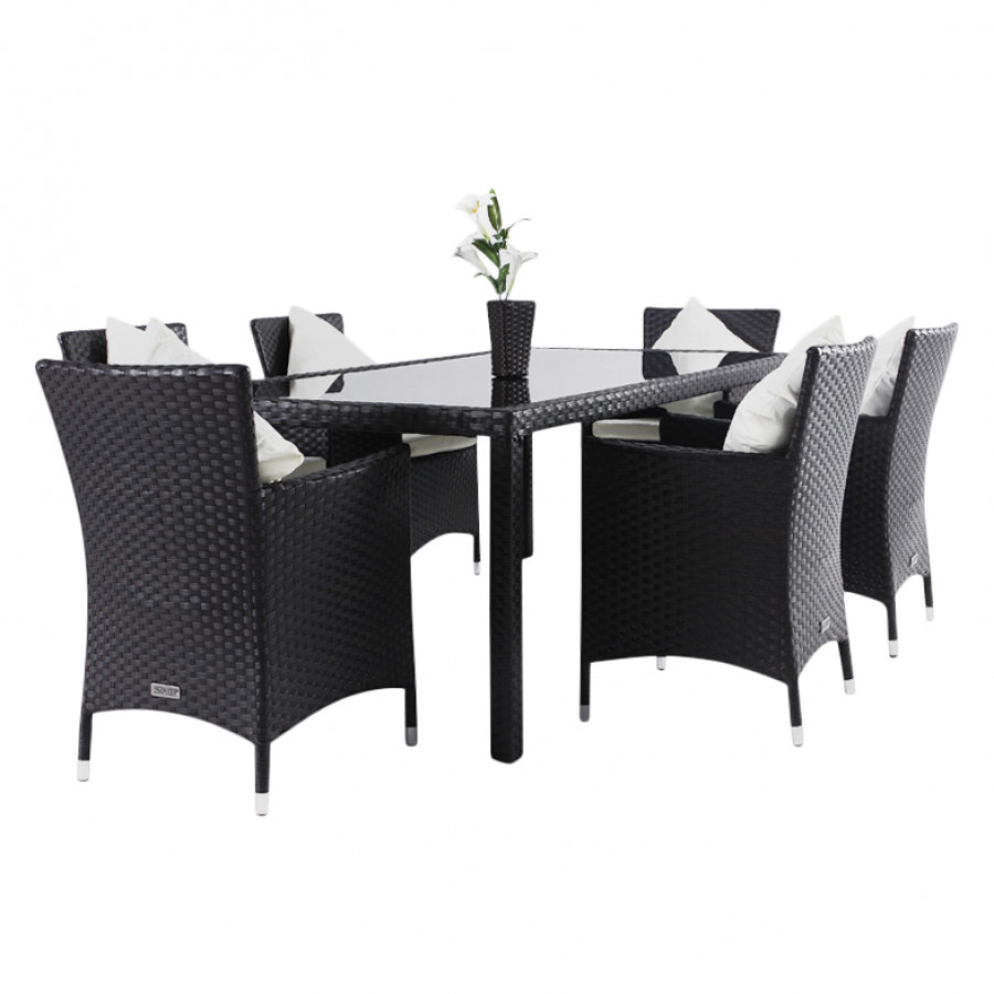 essgruppe f r 6 personen 7 teilig innenliegende glasplatte polyrattan braun home24. Black Bedroom Furniture Sets. Home Design Ideas
