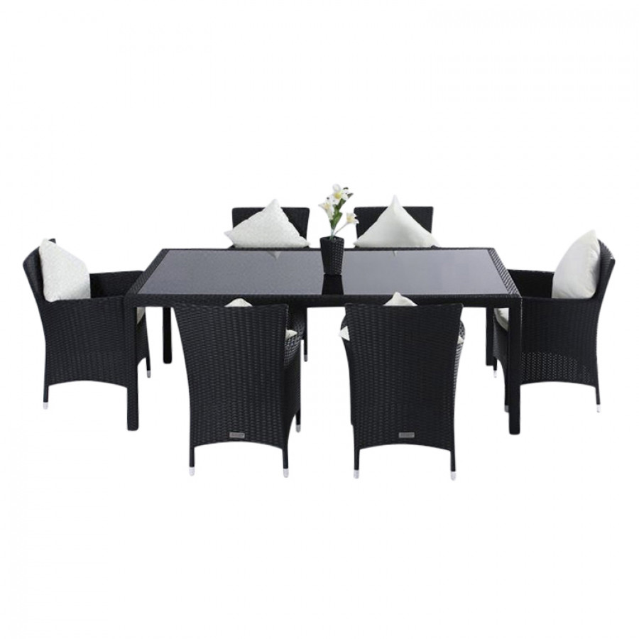 essgruppe f r 6 personen 7 teilig innenliegende glasplatte polyrattan schwarz home24. Black Bedroom Furniture Sets. Home Design Ideas