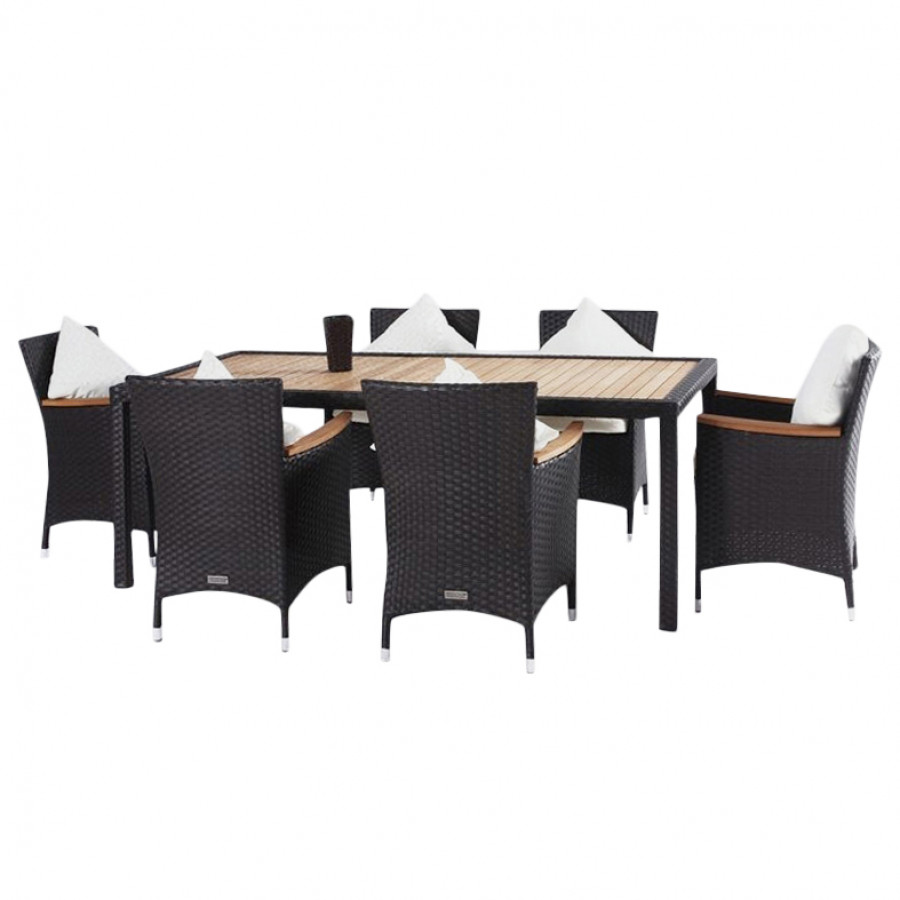 essgruppe f r 6 personen 7 teilig teak tischplatte polyrattan braun home24. Black Bedroom Furniture Sets. Home Design Ideas