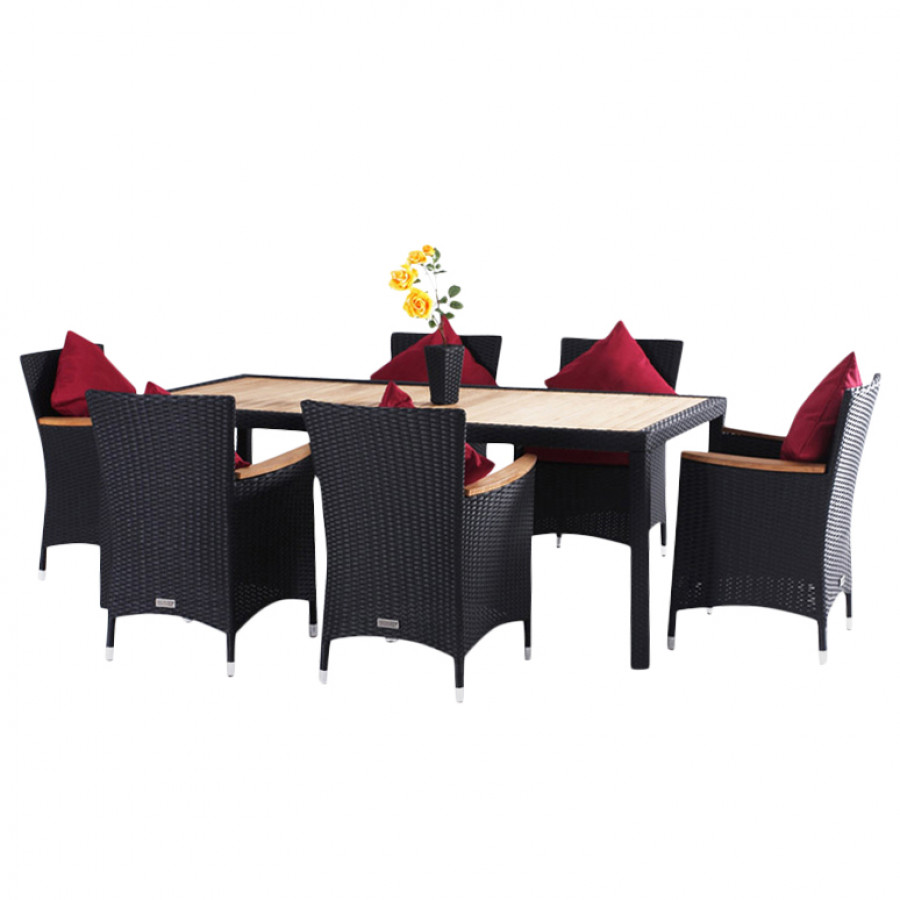 essgruppe f r 6 personen 7 teilig teak tischplatte polyrattan schwarz home24. Black Bedroom Furniture Sets. Home Design Ideas