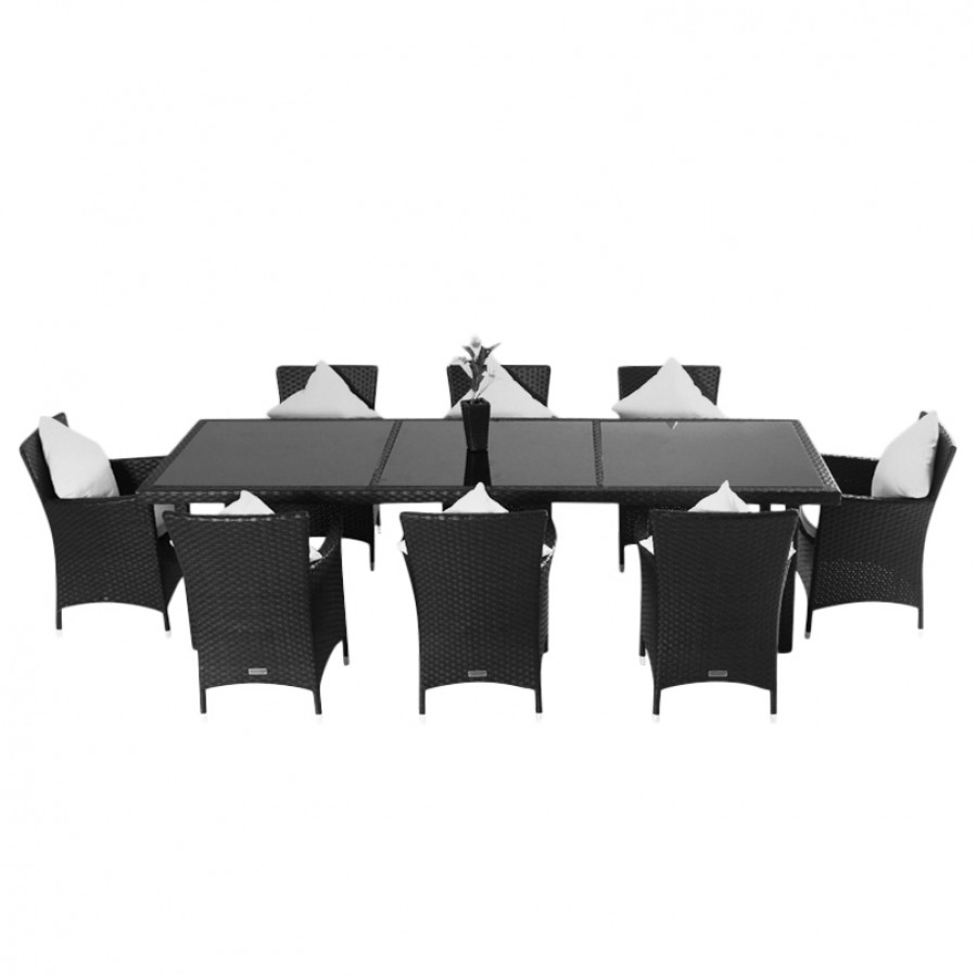 essgruppe f r 8 personen 9 teilig innenliegende glasplatten polyrattan schwarz home24. Black Bedroom Furniture Sets. Home Design Ideas