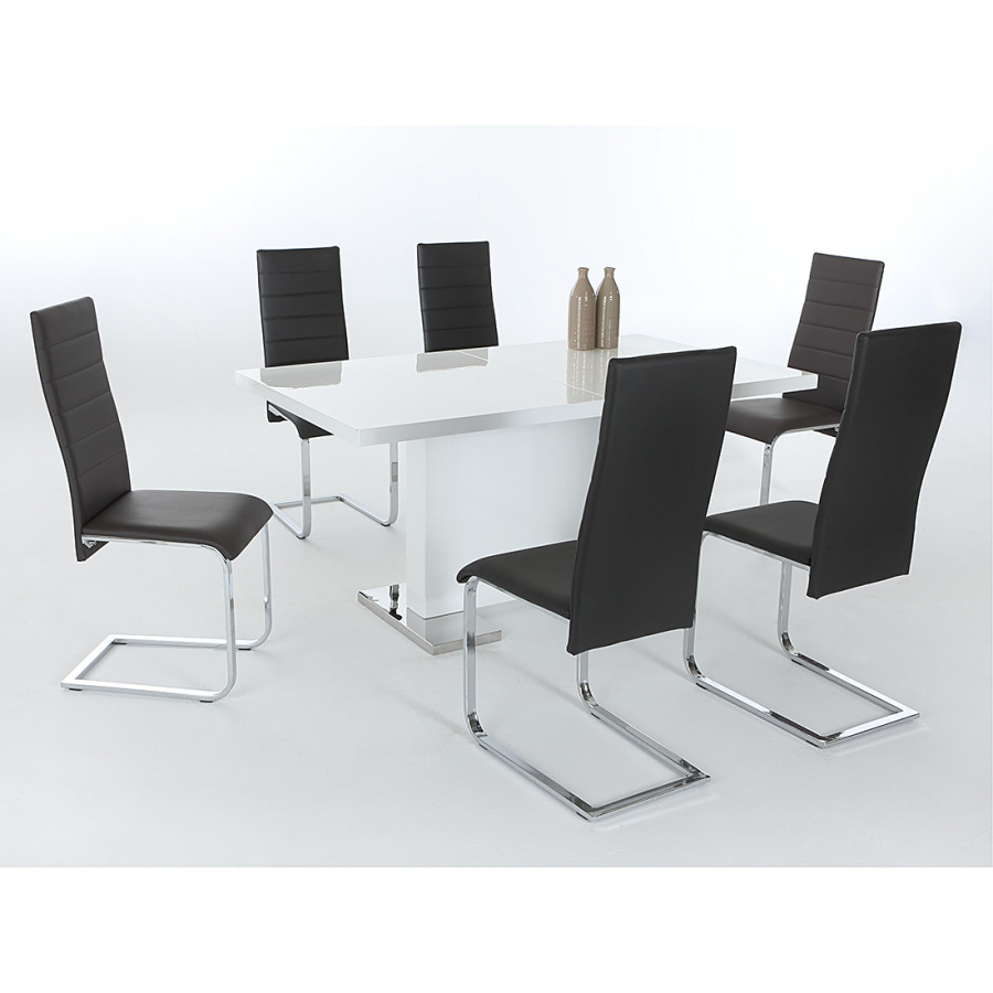 Ensemble table et chaises nidda 5 l ments noir for Ensemble table et chaise noir et blanc