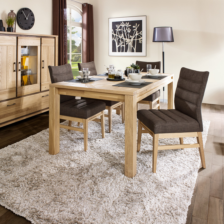 Set tavolo da pranzo oakland 5 pezzi tessuto legno for Tavolo marrone scuro