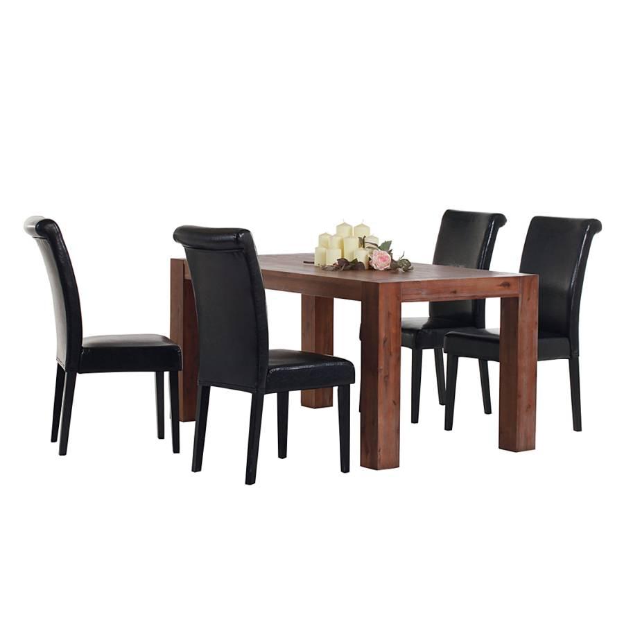Set tavolo da pranzo Viviana (5 pezzi) - Legno massello di acacia/Similpelle  Home24