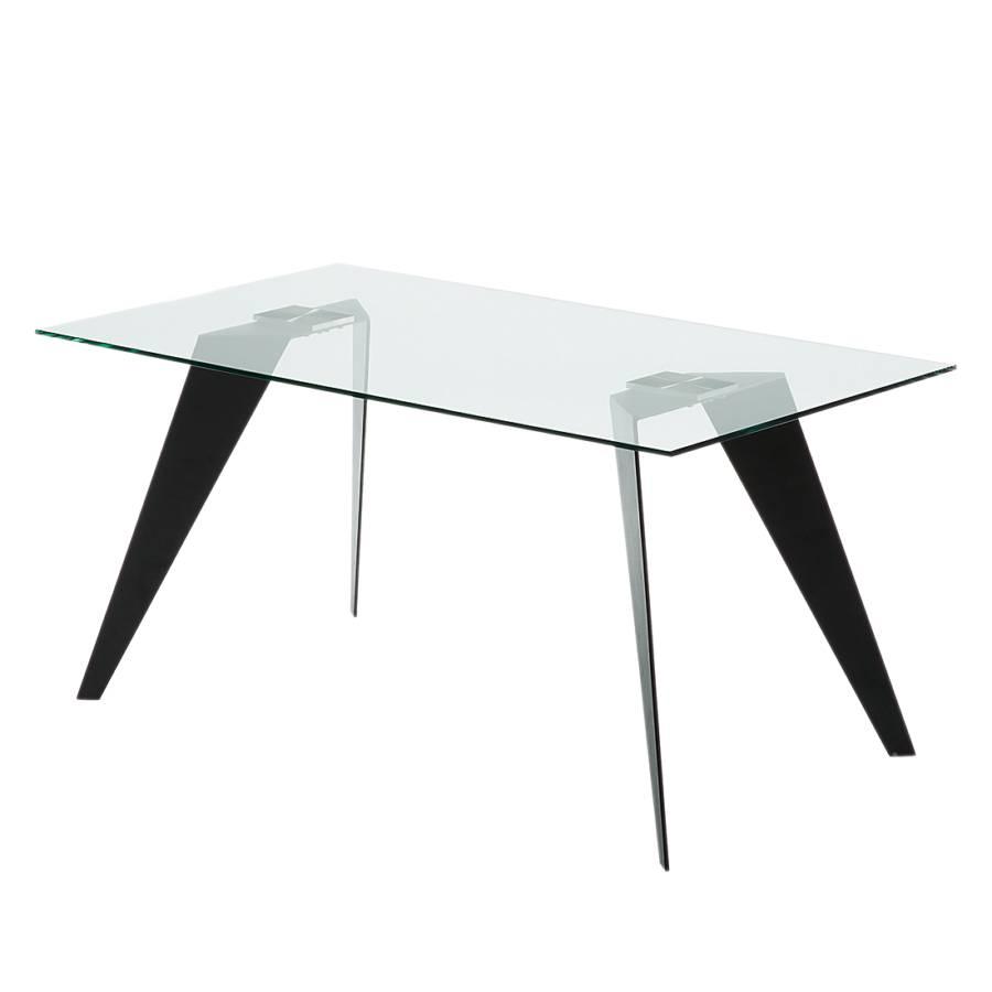esstisch anath glas edelstahl schwarz 160 x 90 cm. Black Bedroom Furniture Sets. Home Design Ideas