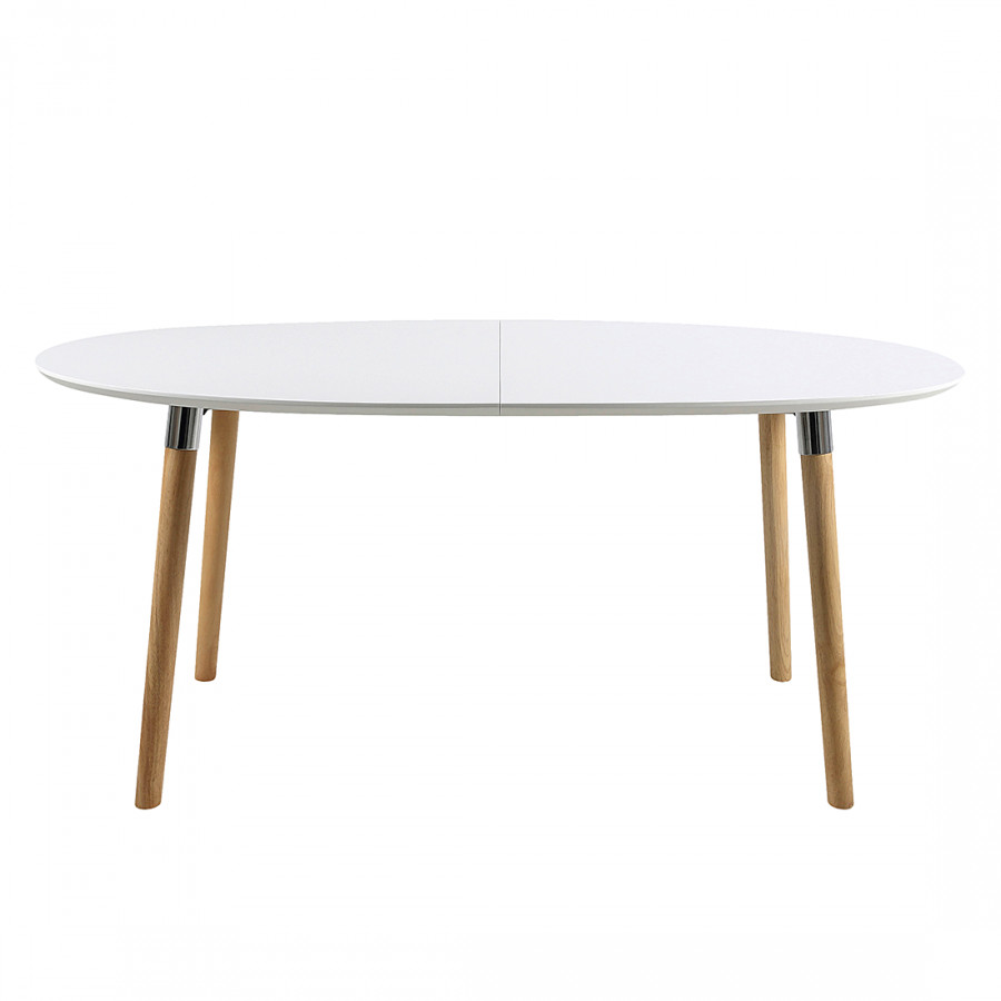 Table manger becky avec rallonge blanc ch ne - Table chene rallonge ...