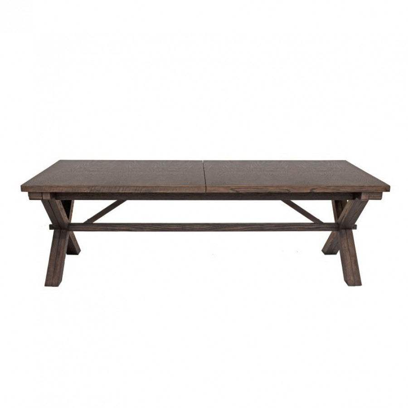 Tavolo da pranzo cross allungabile legno massello di for Tavolo marrone scuro