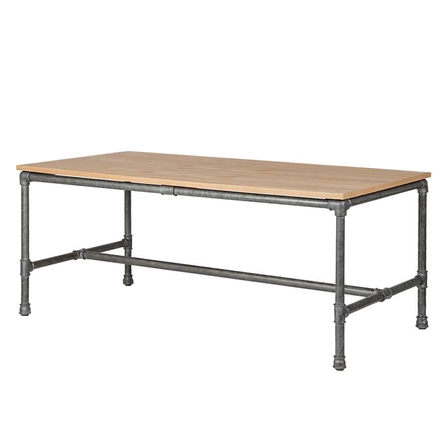 Table manger fran oise contreplaqu ch ne acier - Table chene acier ...