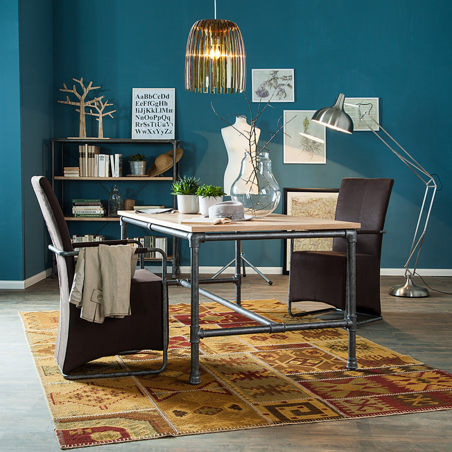 table manger fran oise contreplaqu ch ne acier. Black Bedroom Furniture Sets. Home Design Ideas