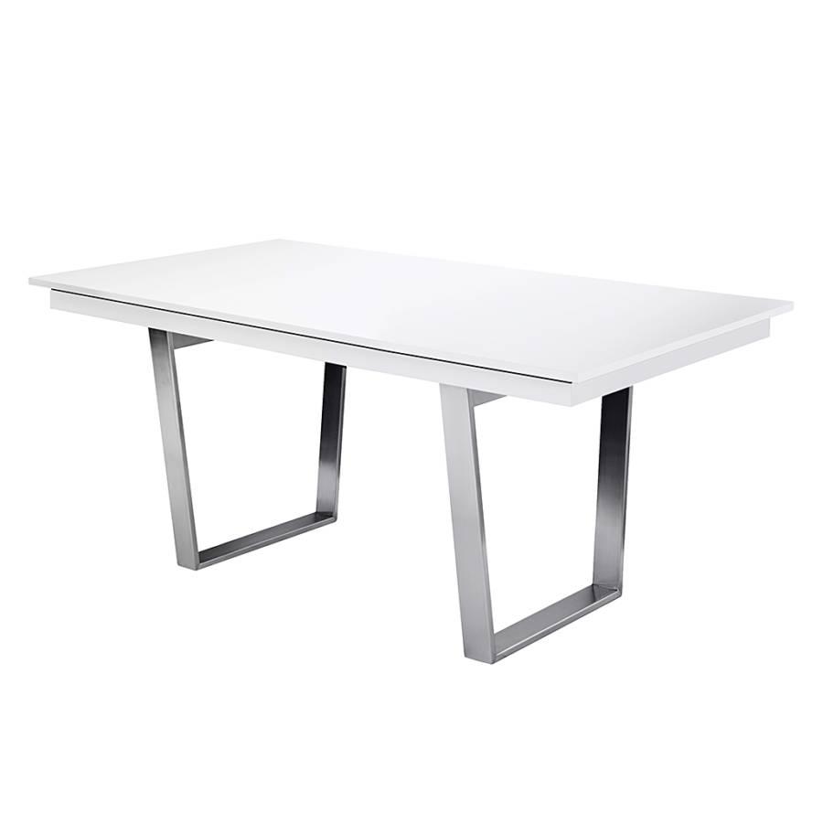 Eettafel Deck met metalen poten (uitschuifbaar) - hoogglans wit/wit