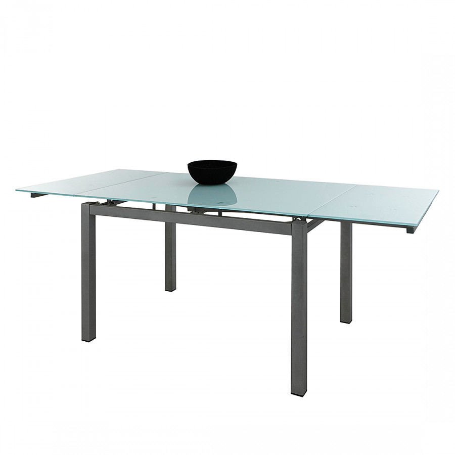 Table manger murray extensible verre blanc - Table a manger verre blanc ...
