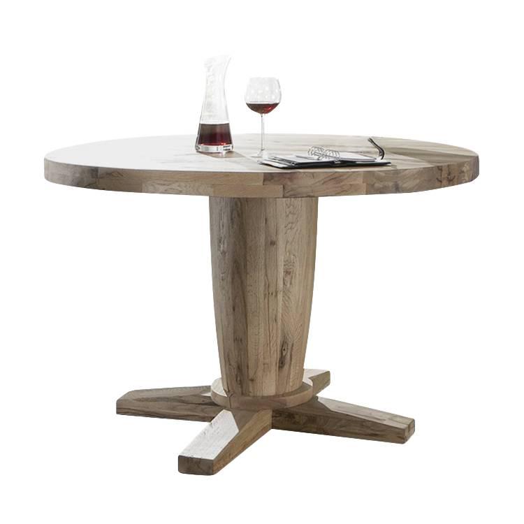 Table de salle manger rondo poutre en ch ne massif huil - Table chene massif huile ...