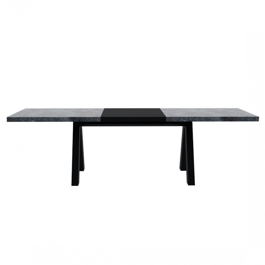 Table manger thornton avec rallonge imitation b ton for Table noir rallonge