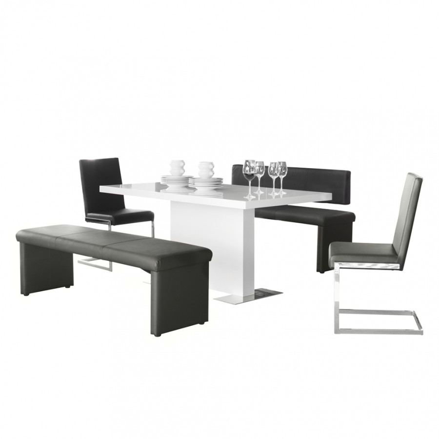 esszimmer moebel set turin 5 teilig schwarz weiss bank mit lehne bank. Black Bedroom Furniture Sets. Home Design Ideas