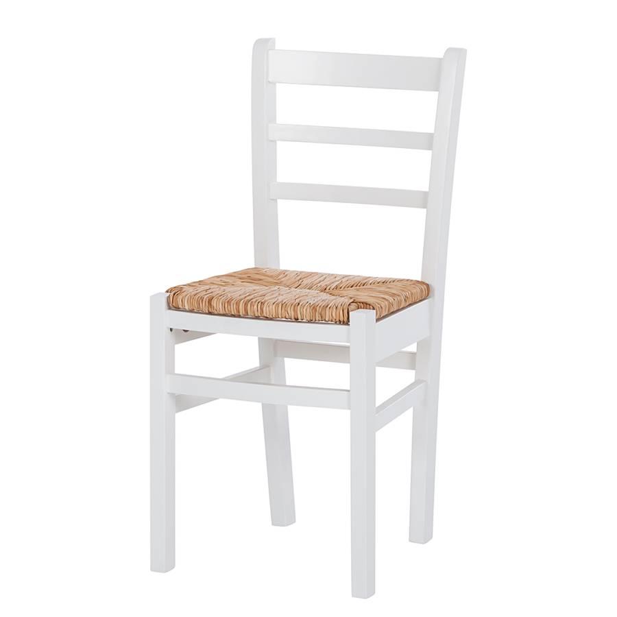 Chaise de salle manger nice lot de 2 pin massif blanc - Chaise de jardin nice ...