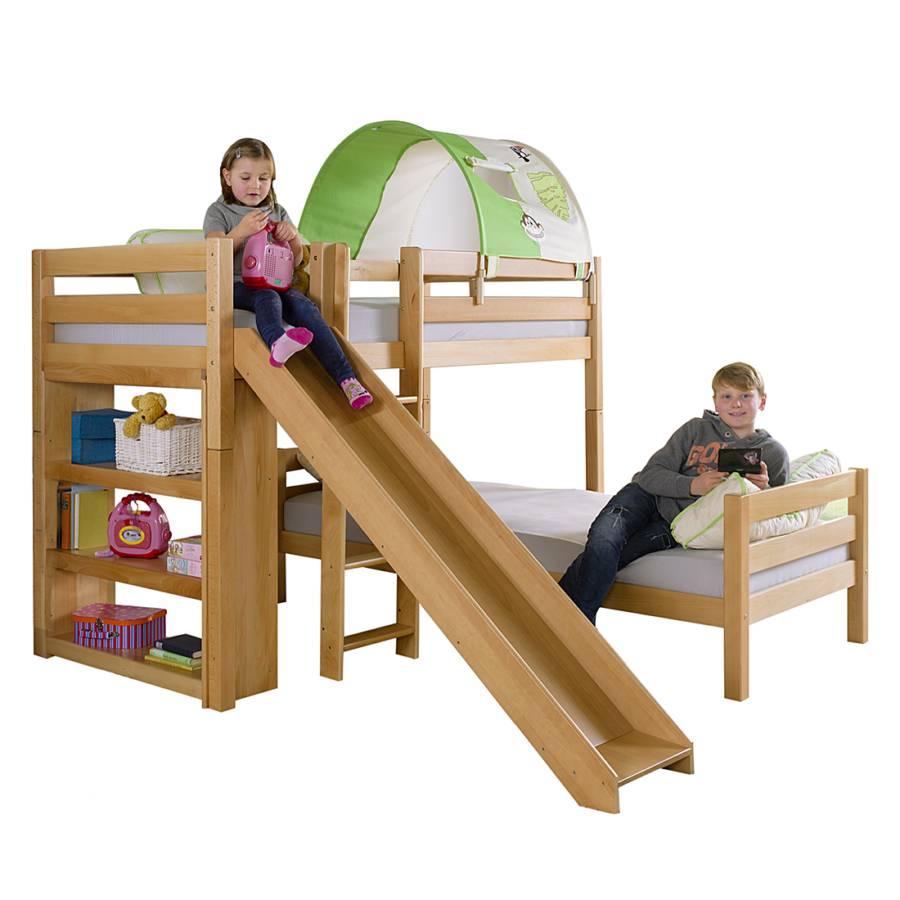 etagenbett beni l mit rutsche buche massiv textil home24. Black Bedroom Furniture Sets. Home Design Ideas