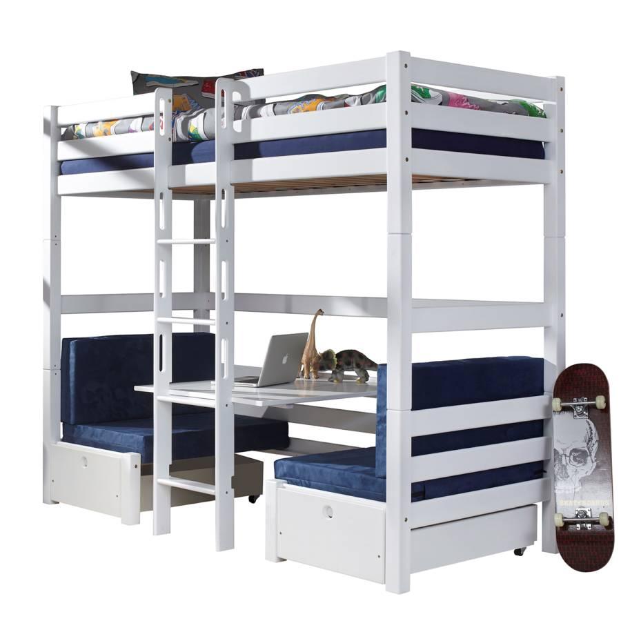etagenbett finley buche massiv baumwolle wei meerblau. Black Bedroom Furniture Sets. Home Design Ideas