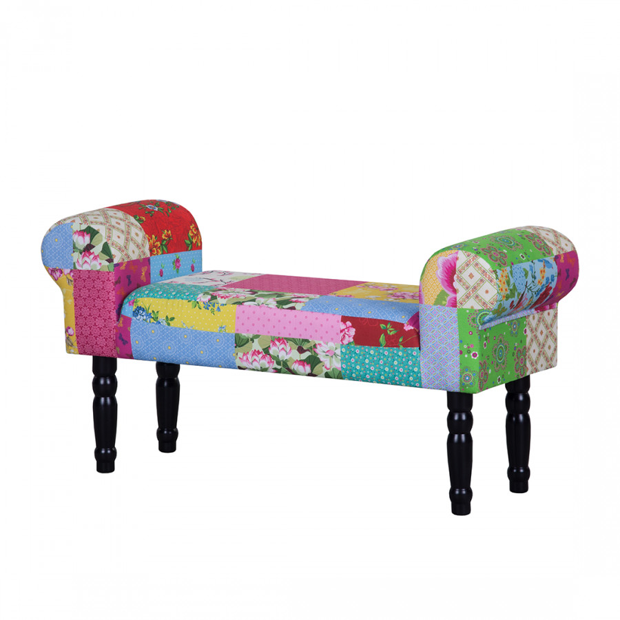 banc capitonn banquette patchwork candys tissu multicolore. Black Bedroom Furniture Sets. Home Design Ideas