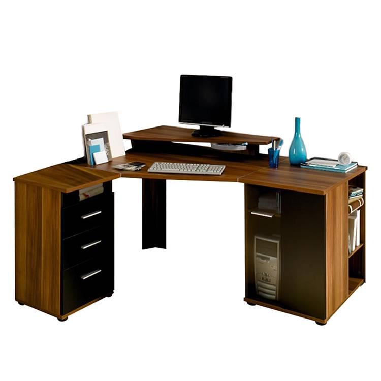 computer eckschreibtisch cs 285 e nussbaum schwarz home24. Black Bedroom Furniture Sets. Home Design Ideas