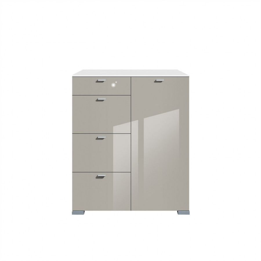 Commode haute gallery brillant 1 porte 4 tiroirs blanc gris min ral h - Commode blanc brillant ...