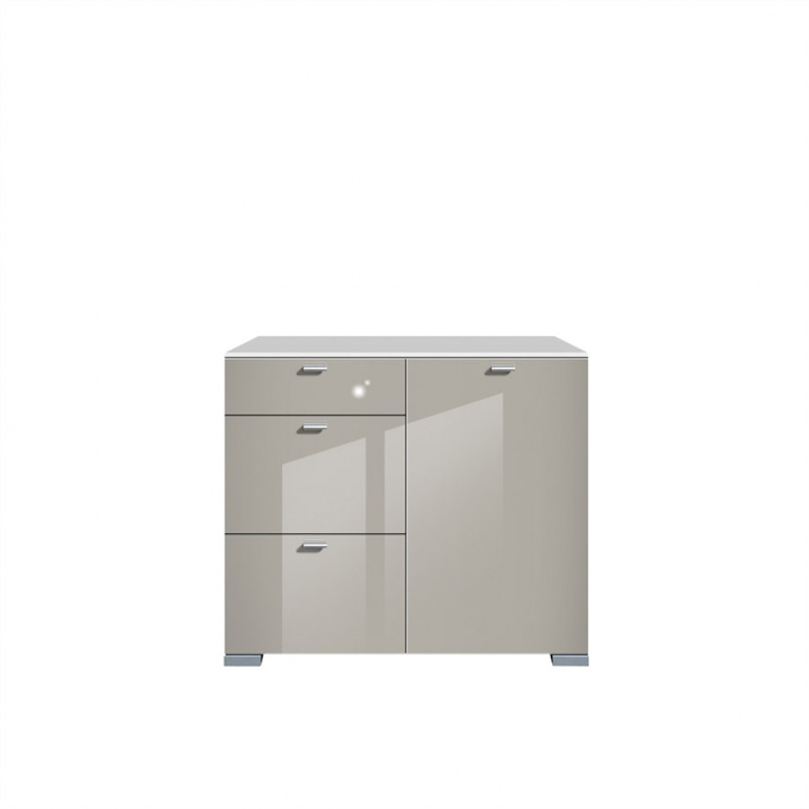 Commode gallery brillant 1 porte 3 tiroirs blanc gris min ral - Commode blanc brillant ...