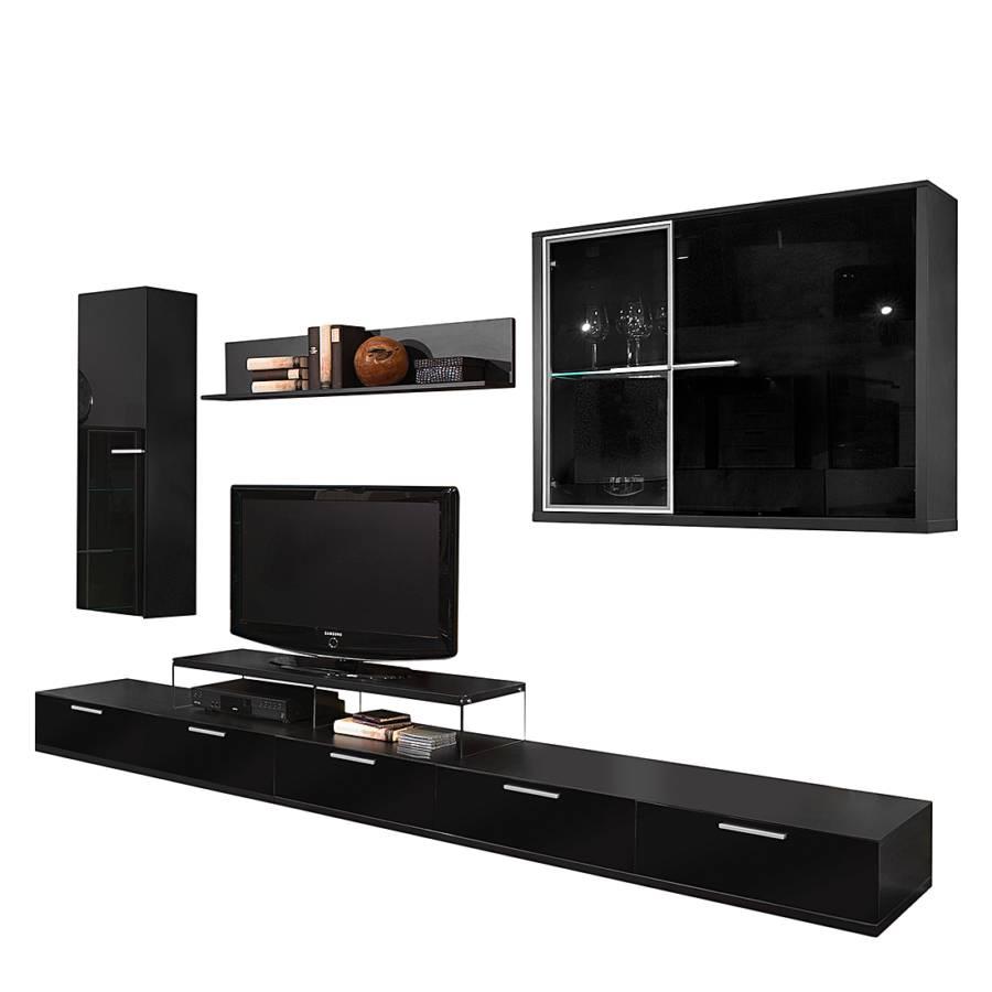wohnwand schwarz hochglanz wohnwand wohnzimmer anbauwand. Black Bedroom Furniture Sets. Home Design Ideas