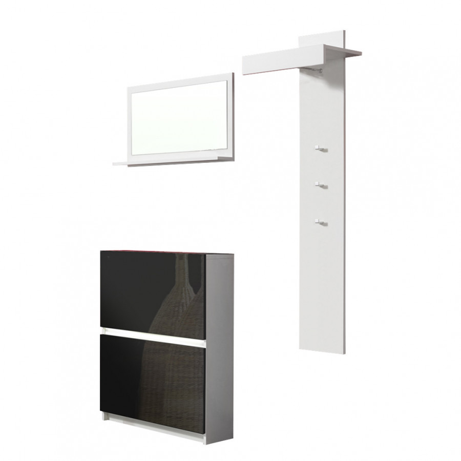 garderobe royal 3er set wei schwarz gl nzend home24. Black Bedroom Furniture Sets. Home Design Ideas