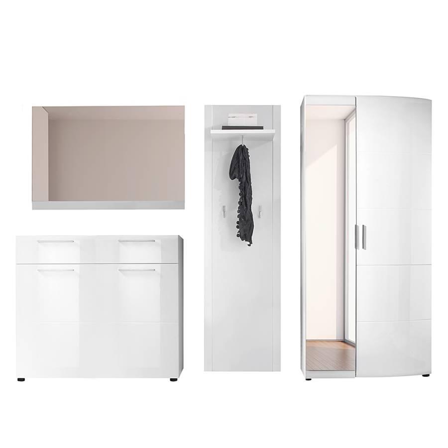 Garderobe savona sr 4 teilig hochglanz wei home24 for Garderobe exterior