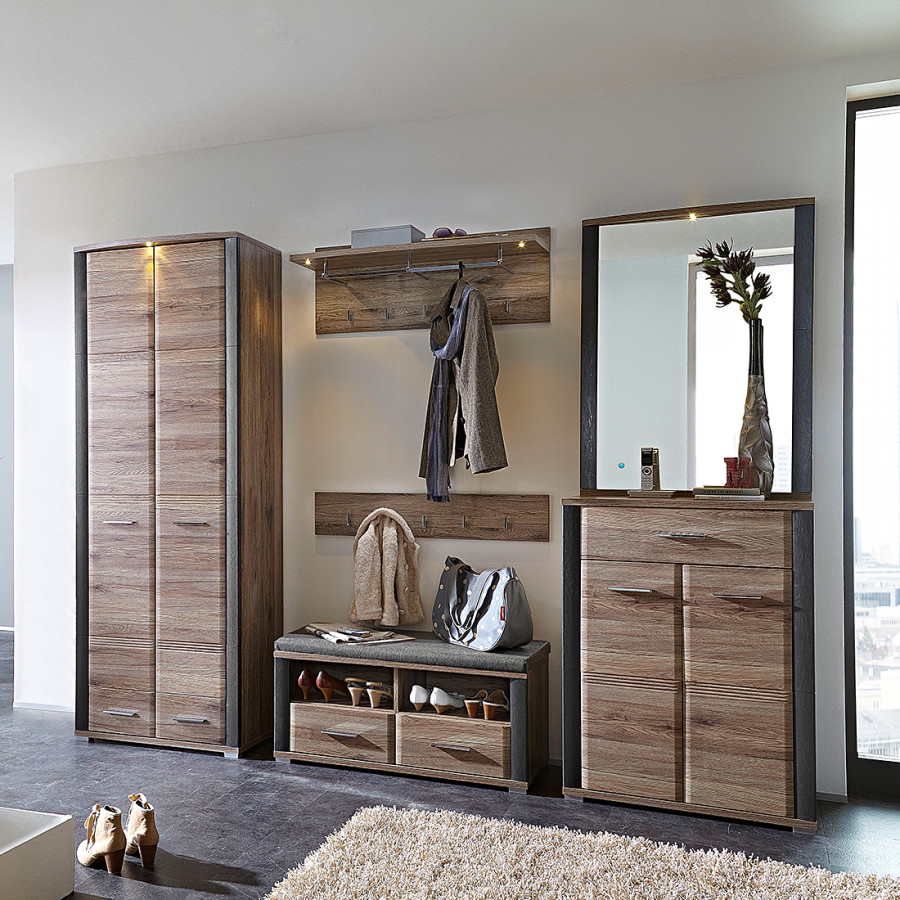 garderobe skanderborg i 6 teilig eiche dekor home24. Black Bedroom Furniture Sets. Home Design Ideas