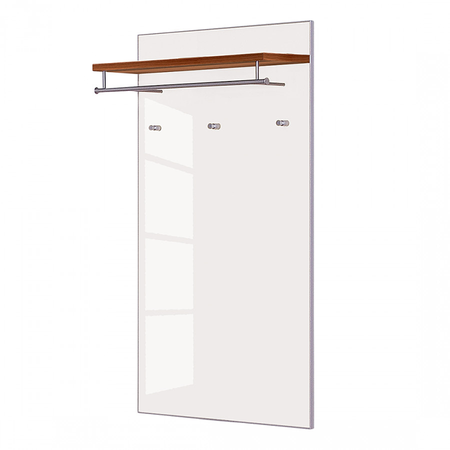 garderobenpaneel alves iii nussbaum glas wei home24. Black Bedroom Furniture Sets. Home Design Ideas