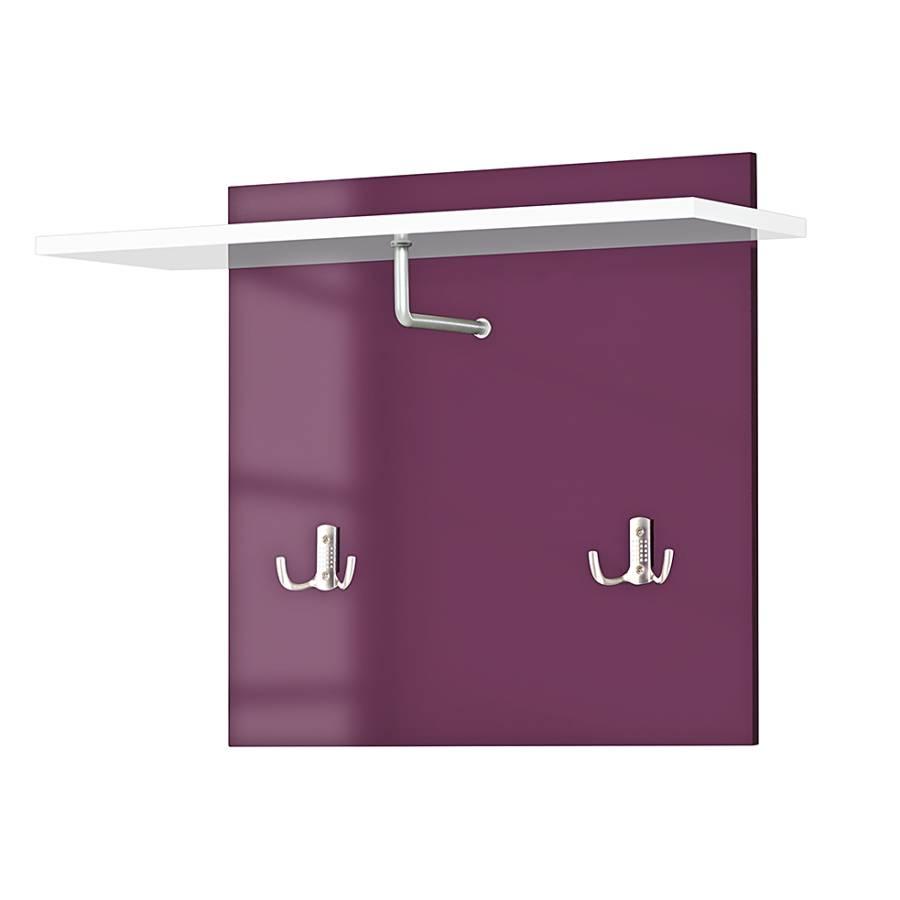garderobenpaneel oswego wei hochglanz aubergine home24. Black Bedroom Furniture Sets. Home Design Ideas