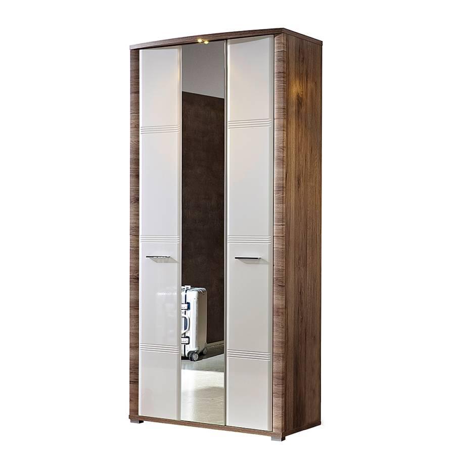armoire de vestibule skanderborg i blanc brillant imitation ch ne. Black Bedroom Furniture Sets. Home Design Ideas