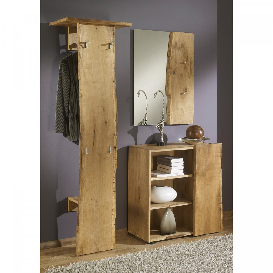 Garderobenset woodkid ii 3 teilig eiche massiv home24 for Garderoben set eiche massiv