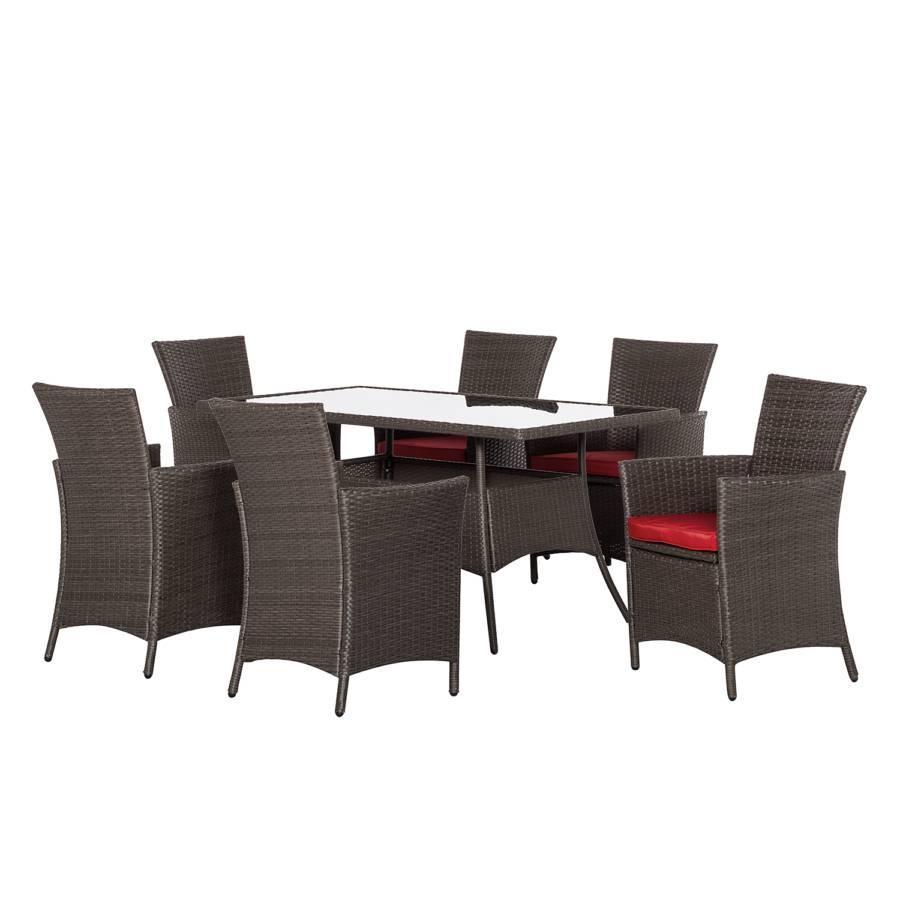 Tuinmeubelset paradise lounge i 7 delige set polyrotan rood bruin - Tafel rots lounge bobois ...