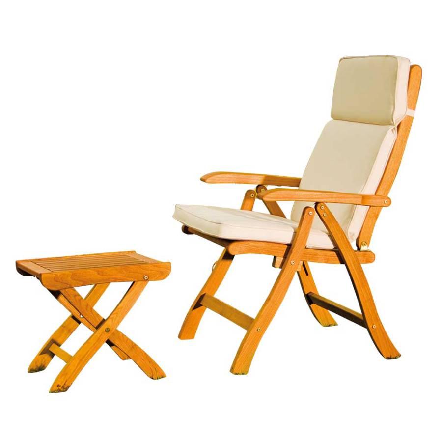 gartenstuhl mit hocker pianona 2 teilig robinie massivholz home24. Black Bedroom Furniture Sets. Home Design Ideas