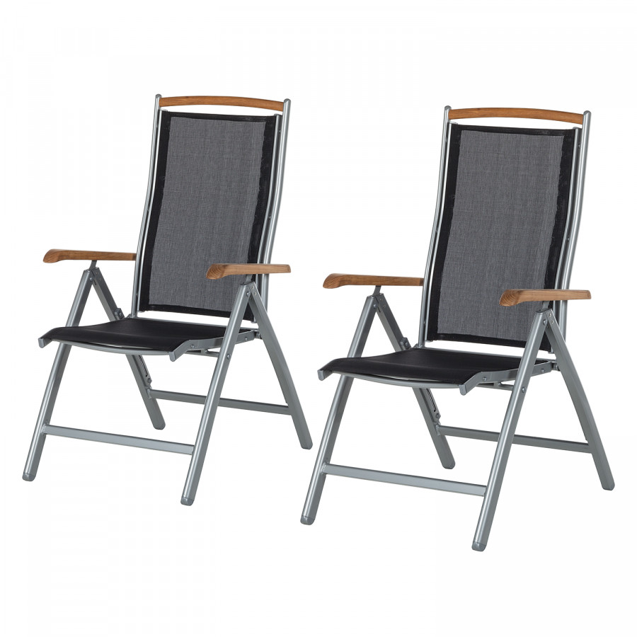 chaise pliante solidus varu lot de 2 aluminium textil ne. Black Bedroom Furniture Sets. Home Design Ideas