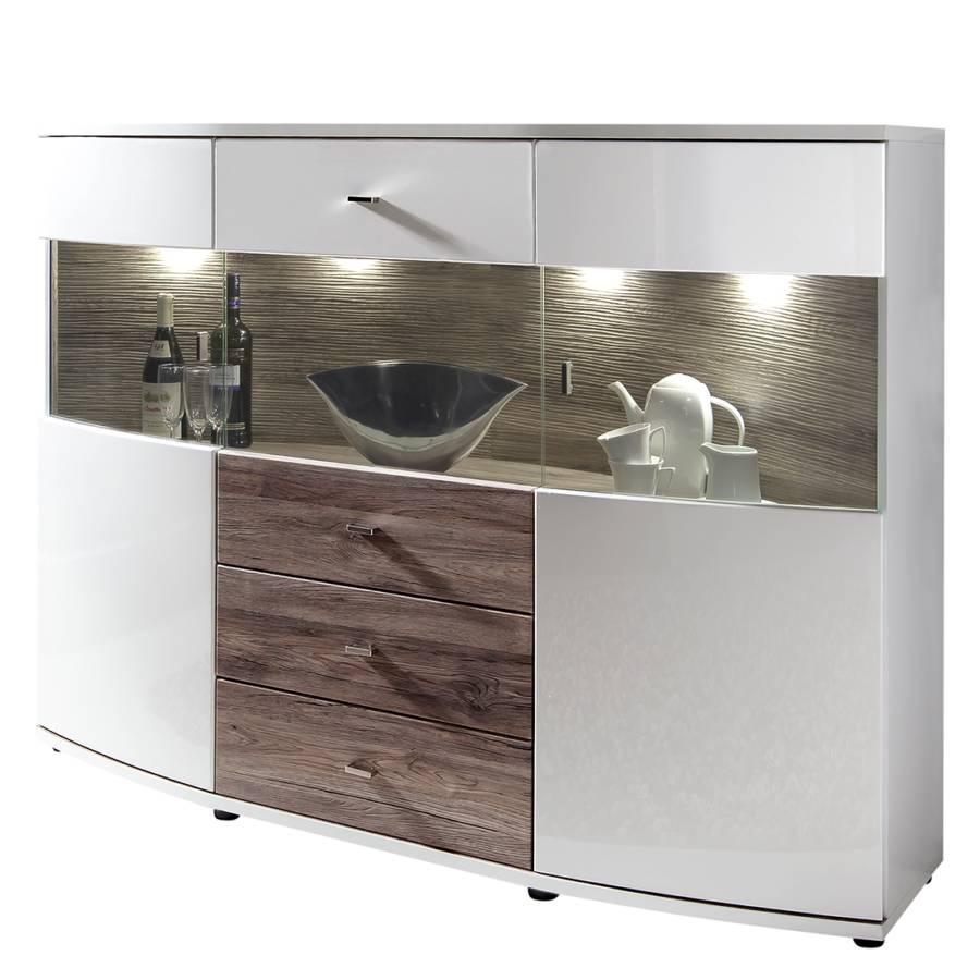 highboard gorey hochglanz wei grau home24. Black Bedroom Furniture Sets. Home Design Ideas