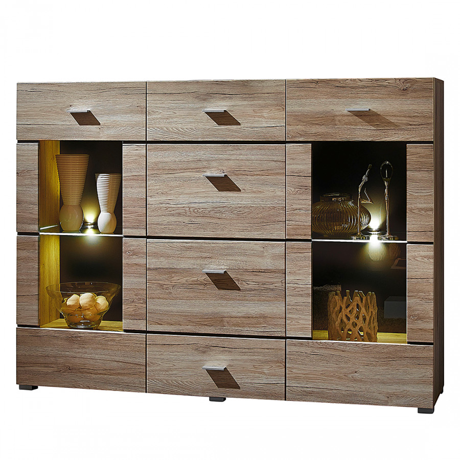 highboard hamilton eiche sanremo dekor hell home24. Black Bedroom Furniture Sets. Home Design Ideas
