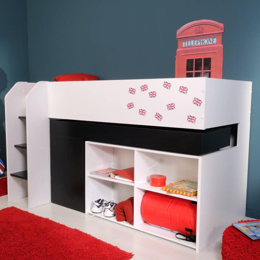 hochbett colona wei schwarz home24. Black Bedroom Furniture Sets. Home Design Ideas