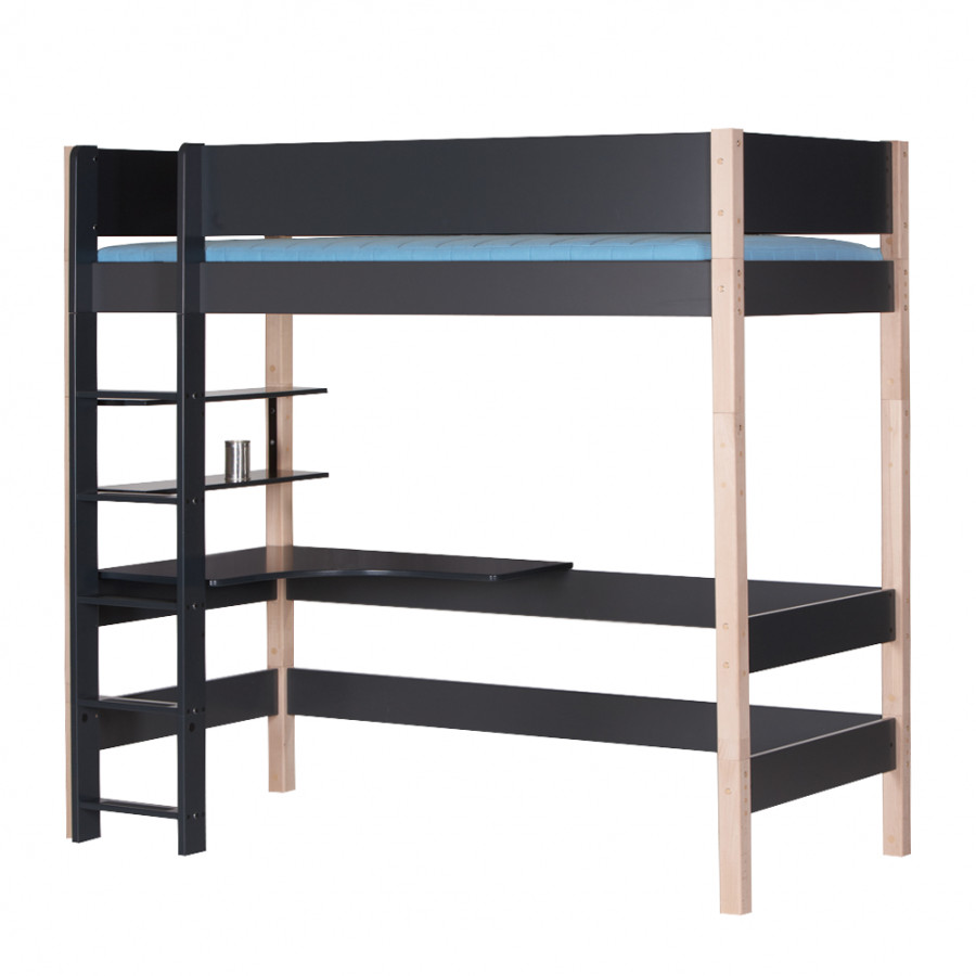 lit en hauteur gefion avec bureau et tag res. Black Bedroom Furniture Sets. Home Design Ideas