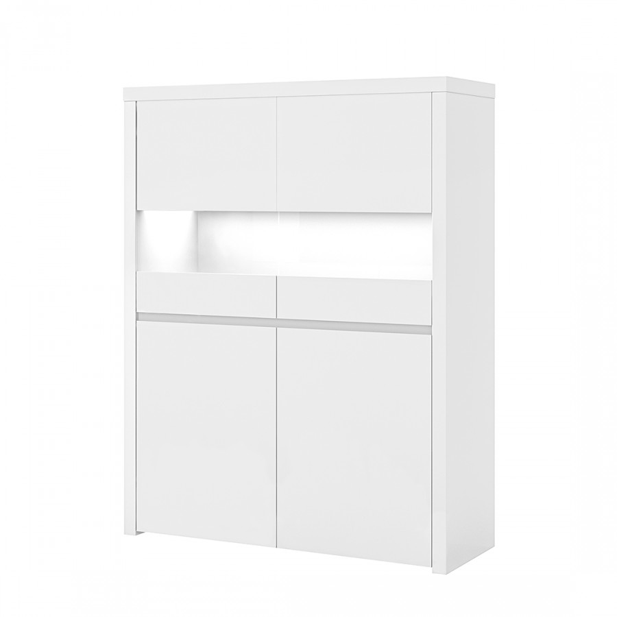 hochkommode villa inkl beleuchtung hochglanz wei. Black Bedroom Furniture Sets. Home Design Ideas