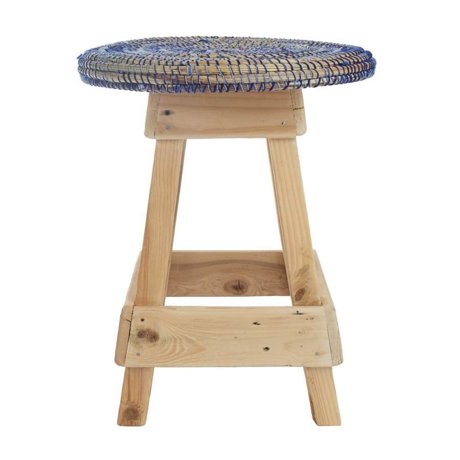 hocker kolda recyceltes holz stroh wolle home24. Black Bedroom Furniture Sets. Home Design Ideas