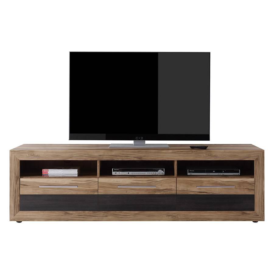 Meuble tv minalu imitation noyer marron fonc for Meuble tv marron