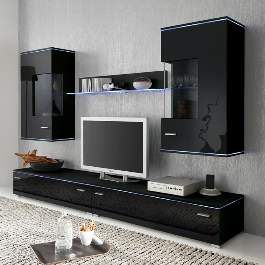 jolly wohnwand ii 5 teilig hochglanz schwarz home24. Black Bedroom Furniture Sets. Home Design Ideas